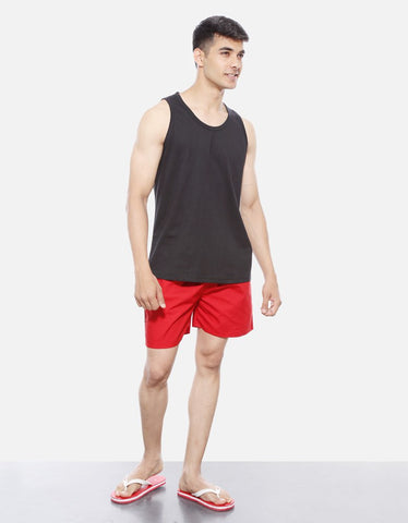 Red - Men's Plain Boxer Short Model Full Front View