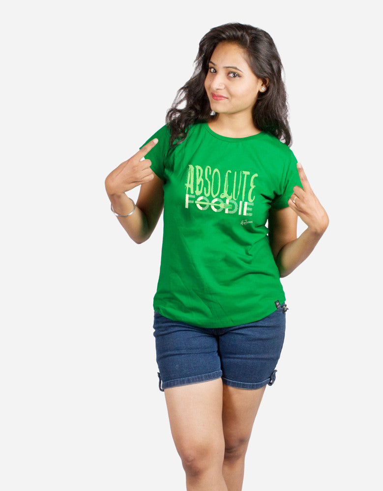 Absolute Foodie - Green Women's Random Short Sleeve Graphic T Shirt Model Front Half View