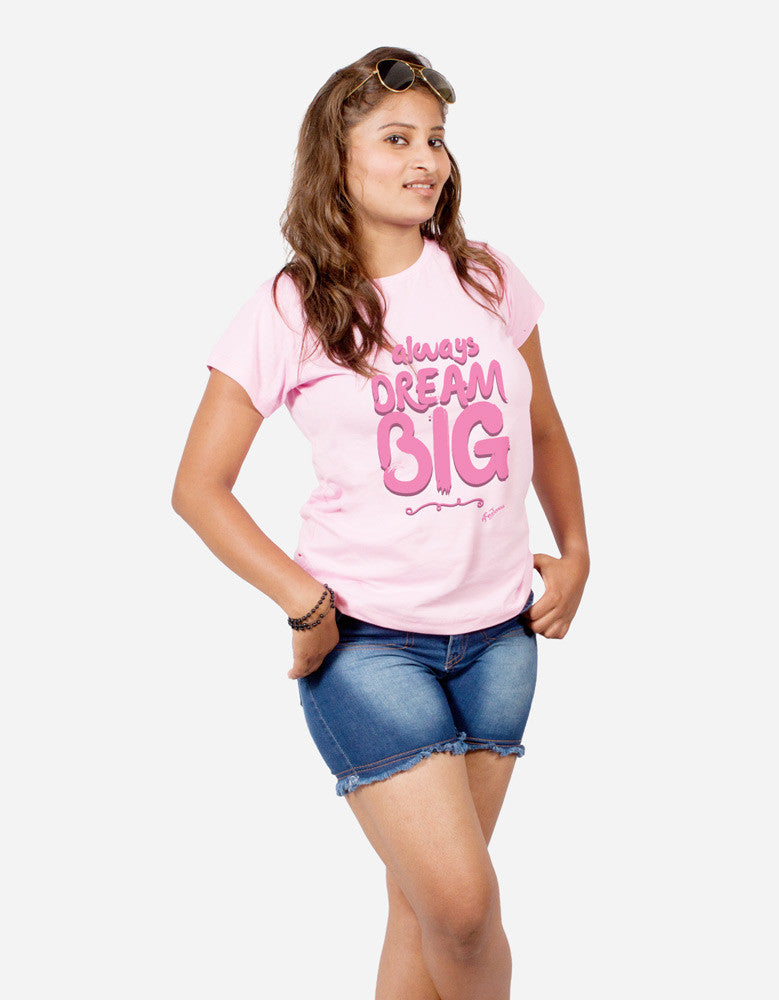 Dream Big - Pink Women's Random Short Sleeve Printed T Shirt Model Half Front View