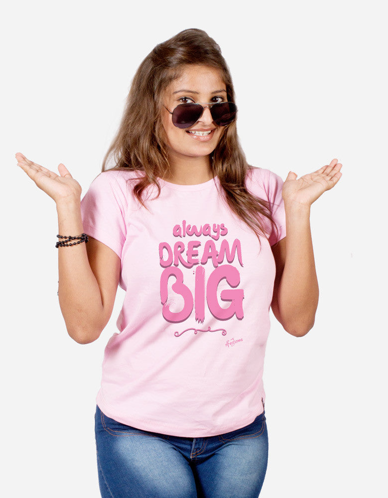 Dream Big - Pink Women's Random Short Sleeve Printed T Shirt Model Front View