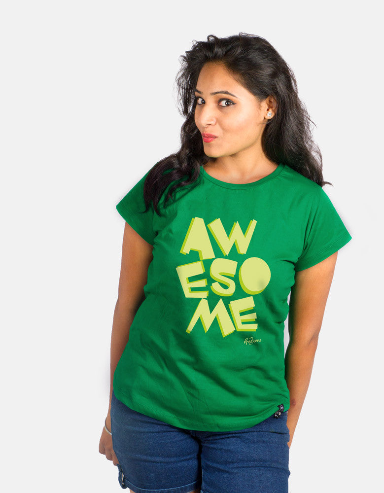 Awesome - Green Women's Random Short Sleeve Graphic T Shirt Model front View