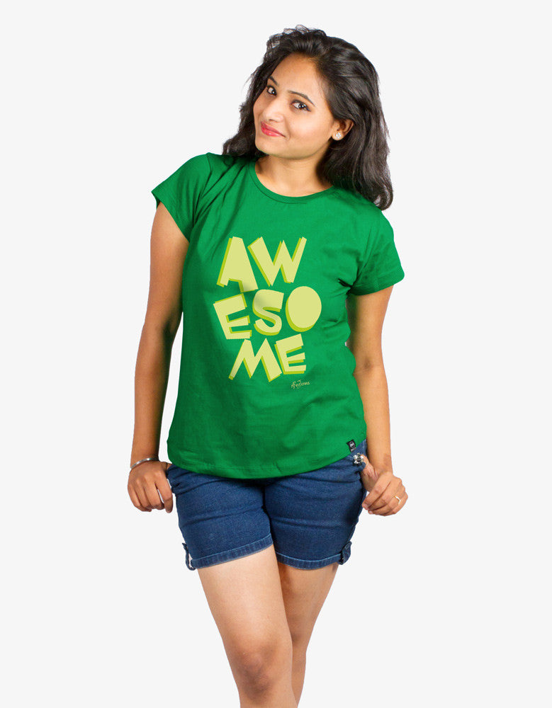 Awesome - Green Women's Random Short Sleeve Graphic T Shirt Model Front Half View