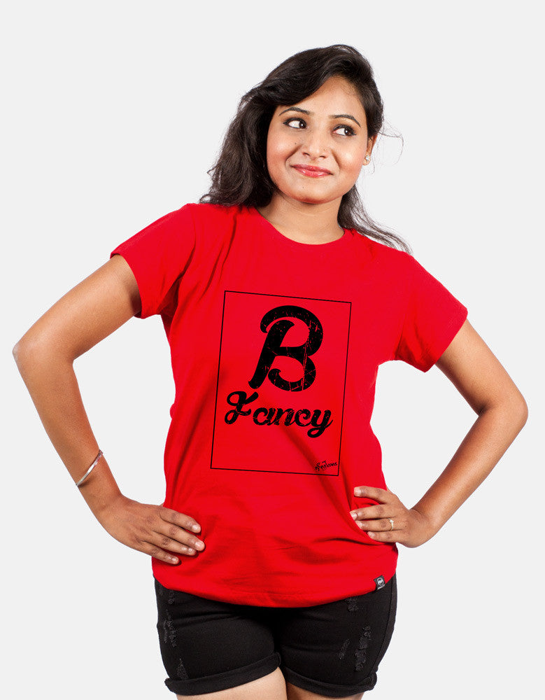Be Fancy - Red Women's Random Short Sleeve Printed T Shirt Model Front View