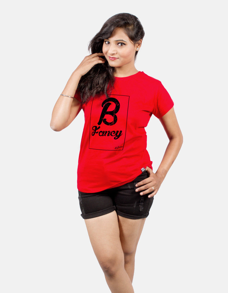 Be Fancy - Red Women's Random Short Sleeve Printed T Shirt Model Half Front View