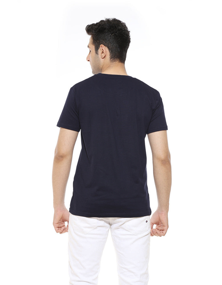 Beer Hai To - Navy Blue Men's Beer Half Sleeve Funky T Shirt Model Back View