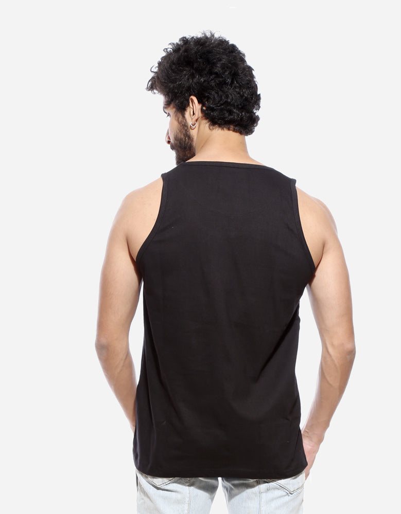 Lash - Black Men's Sleeveless CID Graphic Vest Model Back View