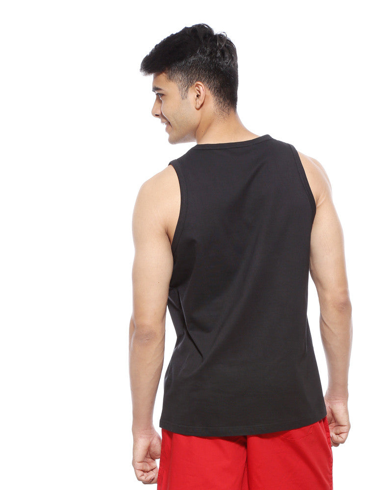 Black - Men's Plain Sleeveless Vest Model Back View