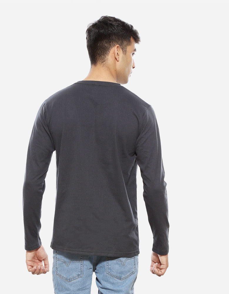 Charcoal Grey - Men's Plain Full Sleeve Casual T Shirt Model Back View