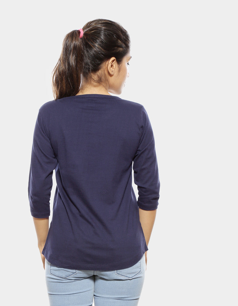 Navy Blue - Women's Plain 3/4 Sleeve T Shirt Model back View