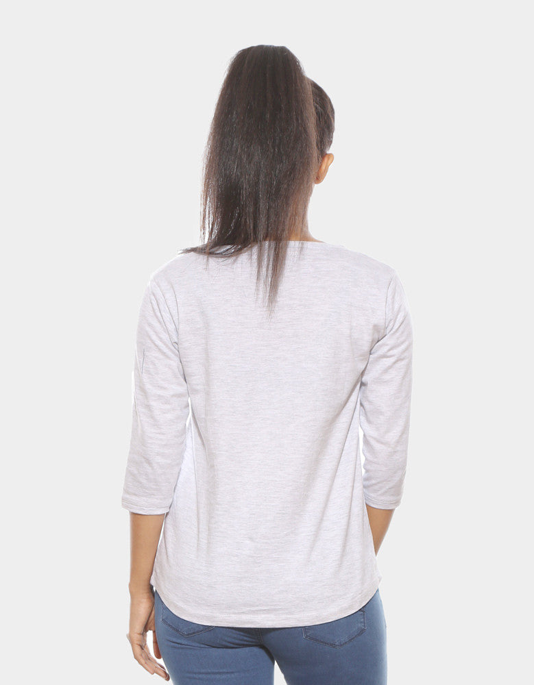Melange White - Women's Plain 3/4 Sleeve T Shirt Model back View