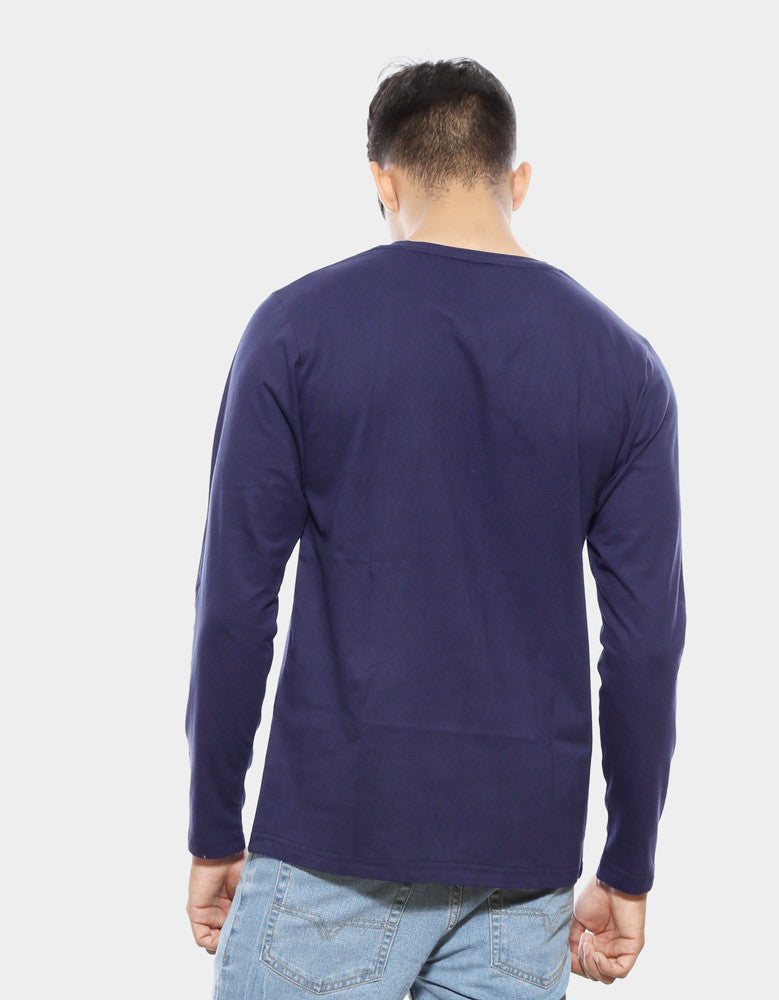 Navy Blue - Men's Plain Full Sleeve Casual T Shirt Model Back View