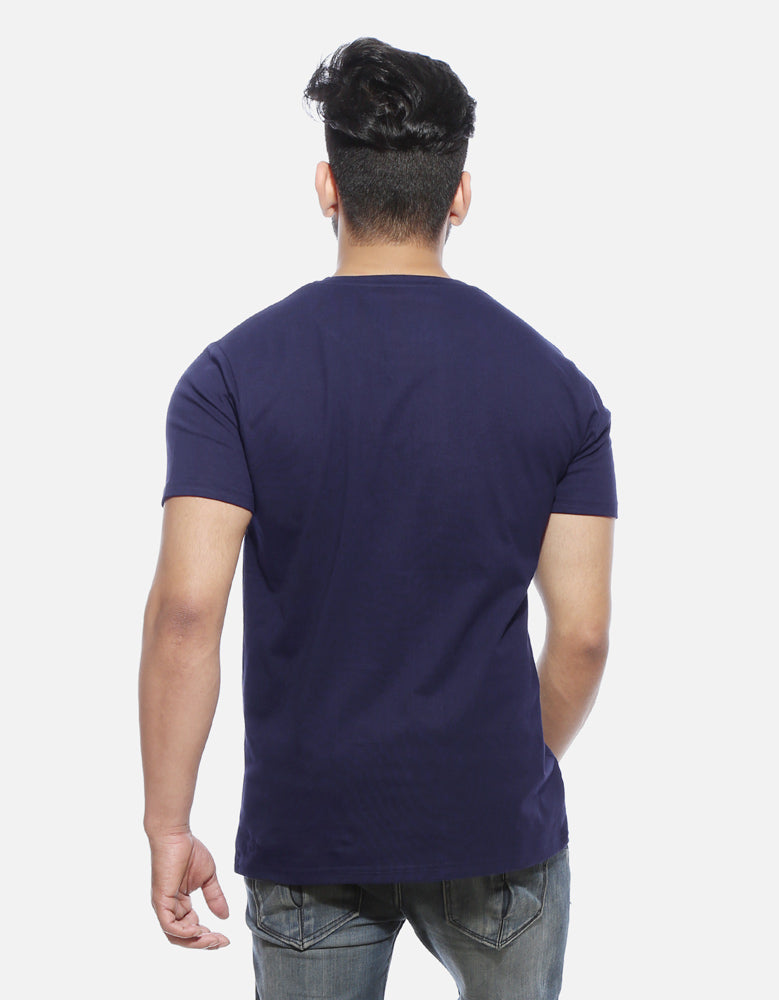 Hurt 'Em Back - Navy Blue Men's Half Sleeve Pocket Print T Shirt Model Back View
