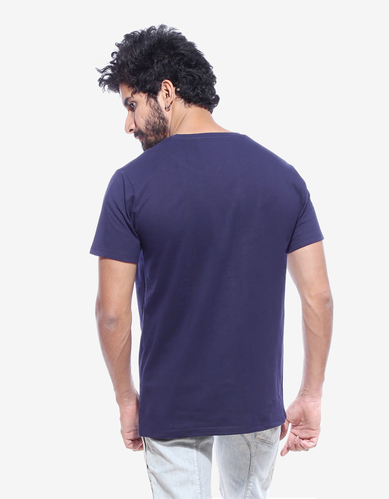 Hold the Door- Navy Blue  Men's Half Sleeve Cool T Shirt Model Back View