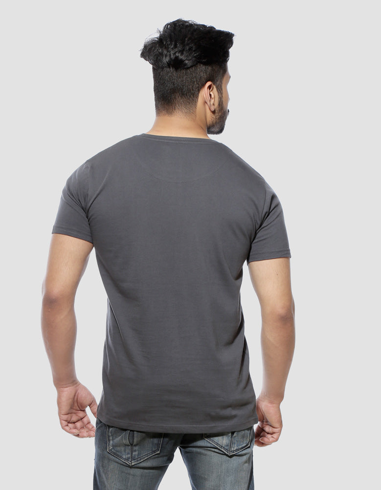 S Symbol - Charcoal Grey Men's Superhero Half Sleeve Pocket Print T Shirt Model Back View