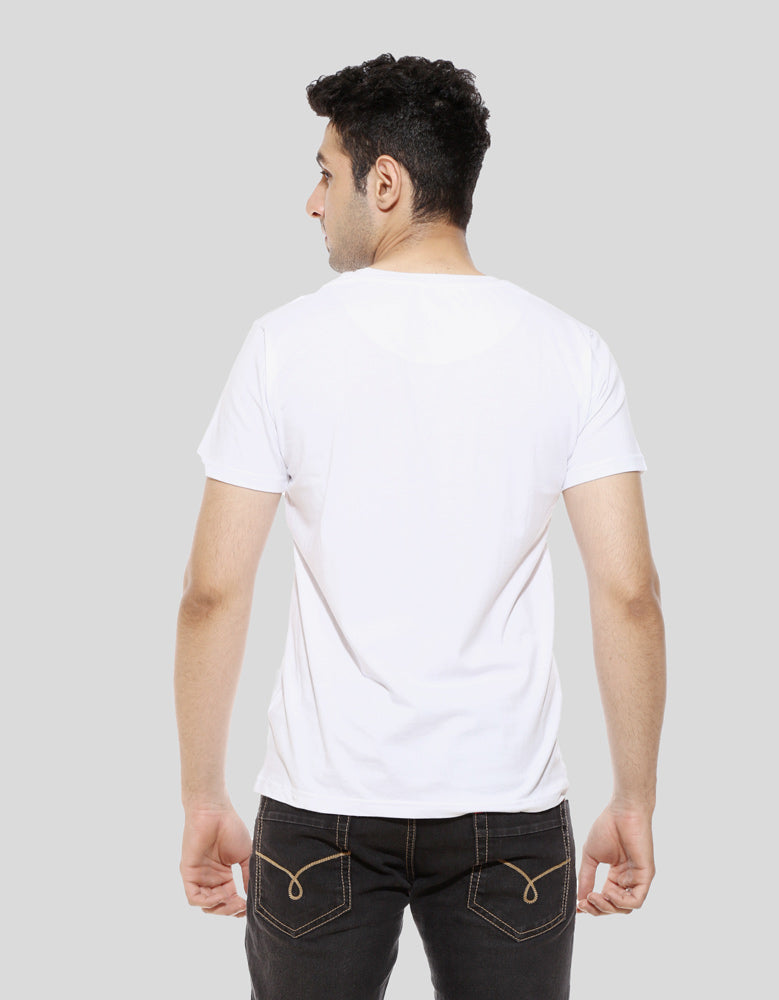 Fadu Banda - White Men's Half Sleeve Cool T Shirt Model Back View