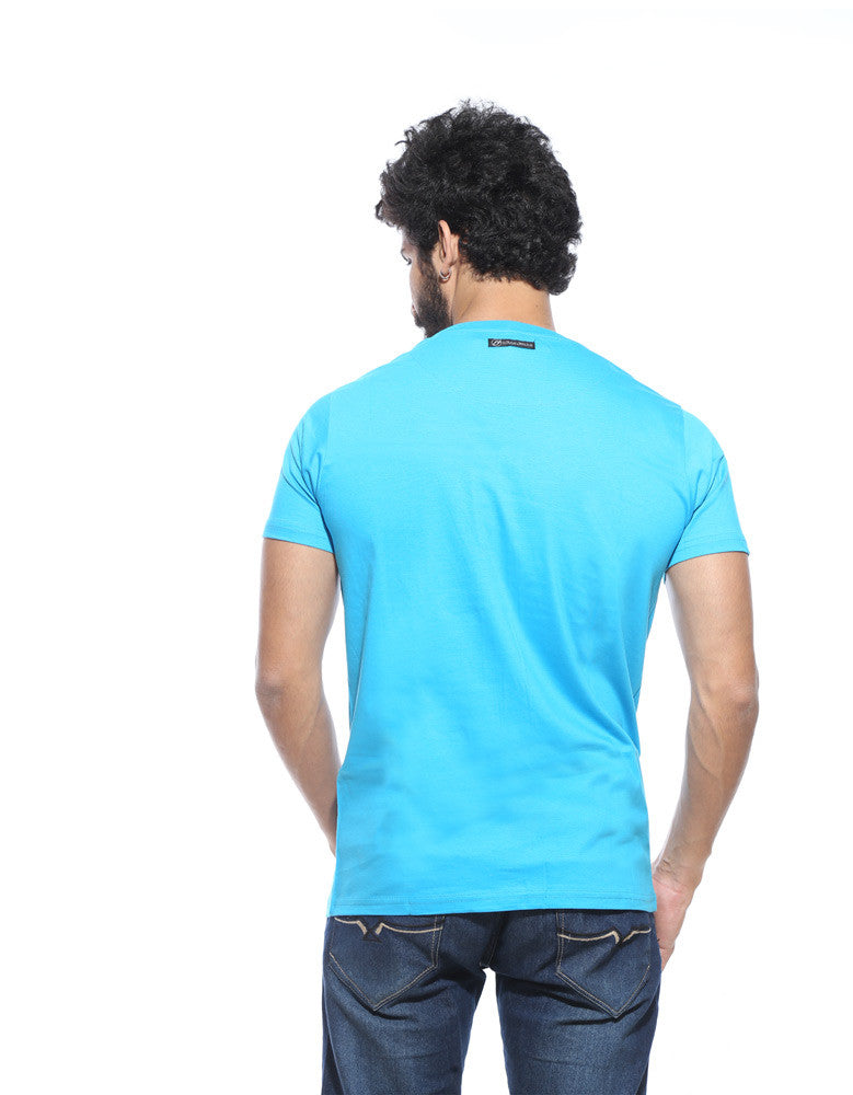 Single - Vivid Cyan Men's Half Sleeve Printed T Shirt Model Back View