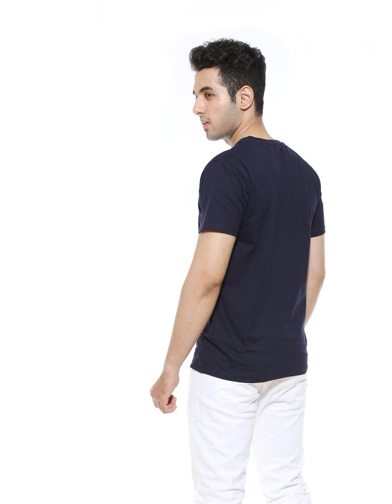 Master Blaster - Navy Blue Men's Half Sleeve Designer T Shirt Model Back View