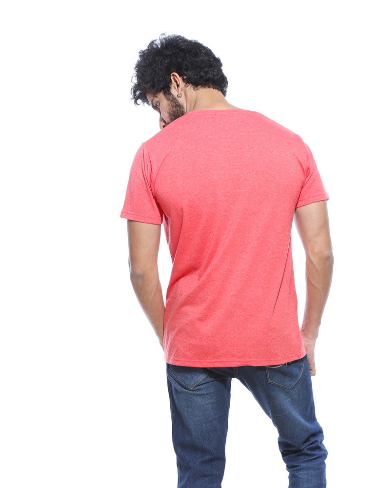 Druggee - Red Melange Men's Stoner Half Sleeve Designer T Shirt Model Back View