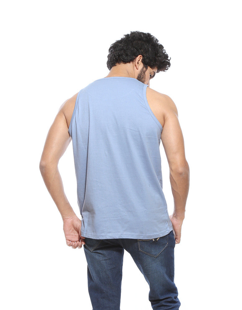 Go Hard Or Go Home - Yale Men's Blue Gym Sleeveless Graphic Vest Model Back View