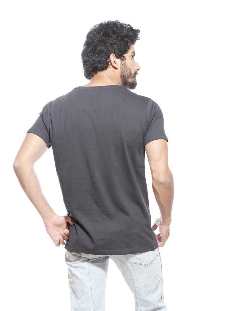 Till You Need -  Charcoal Grey Men's Beer Half Sleeve Graphic T Shirt Model Back View