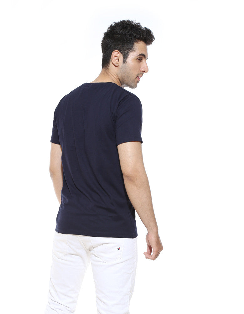 Indians - Navy Blue Men's Half Sleeve Designer T Shirt Model Back View