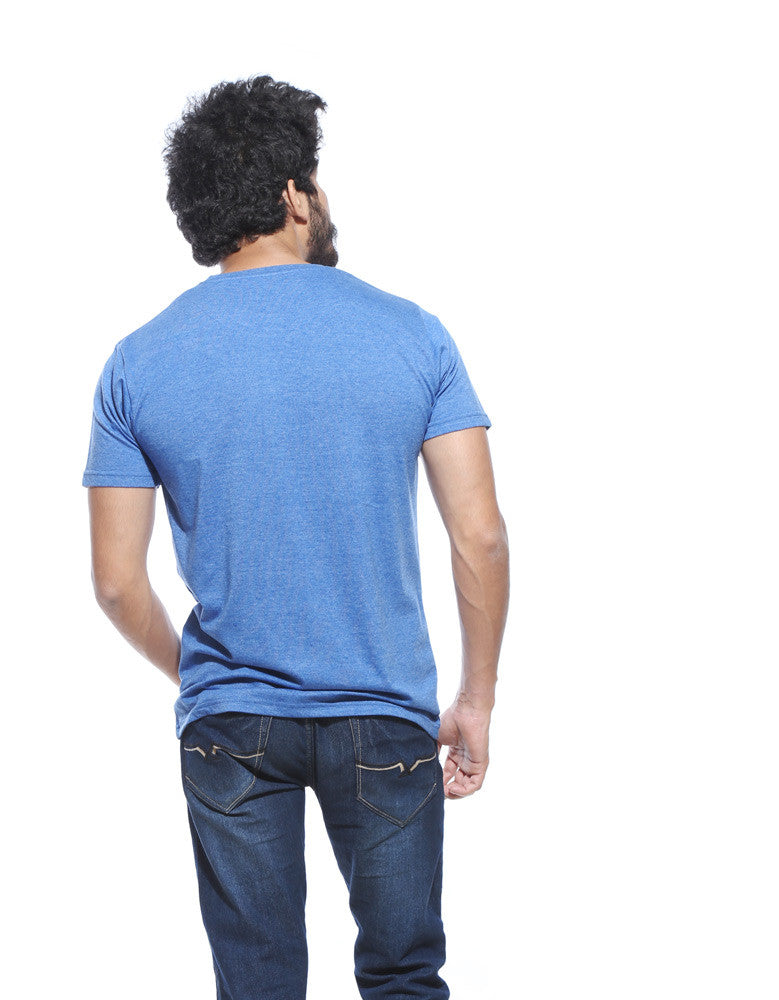 Pose 69 - Blue Melange Men's Half Sleeve Pocket Print T Shirt Model Back View