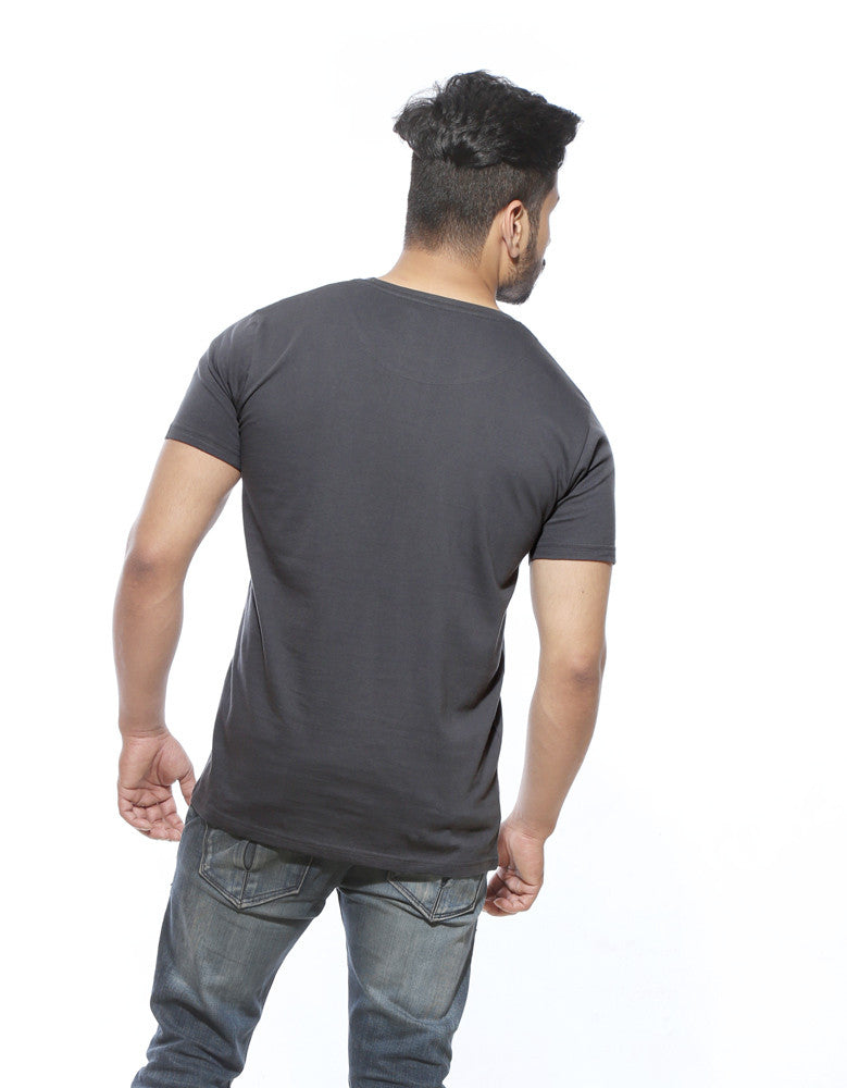 Weed Indeed - Charcoal Grey Men's Stoner Half Sleeve Printed T Shirt Model Back View