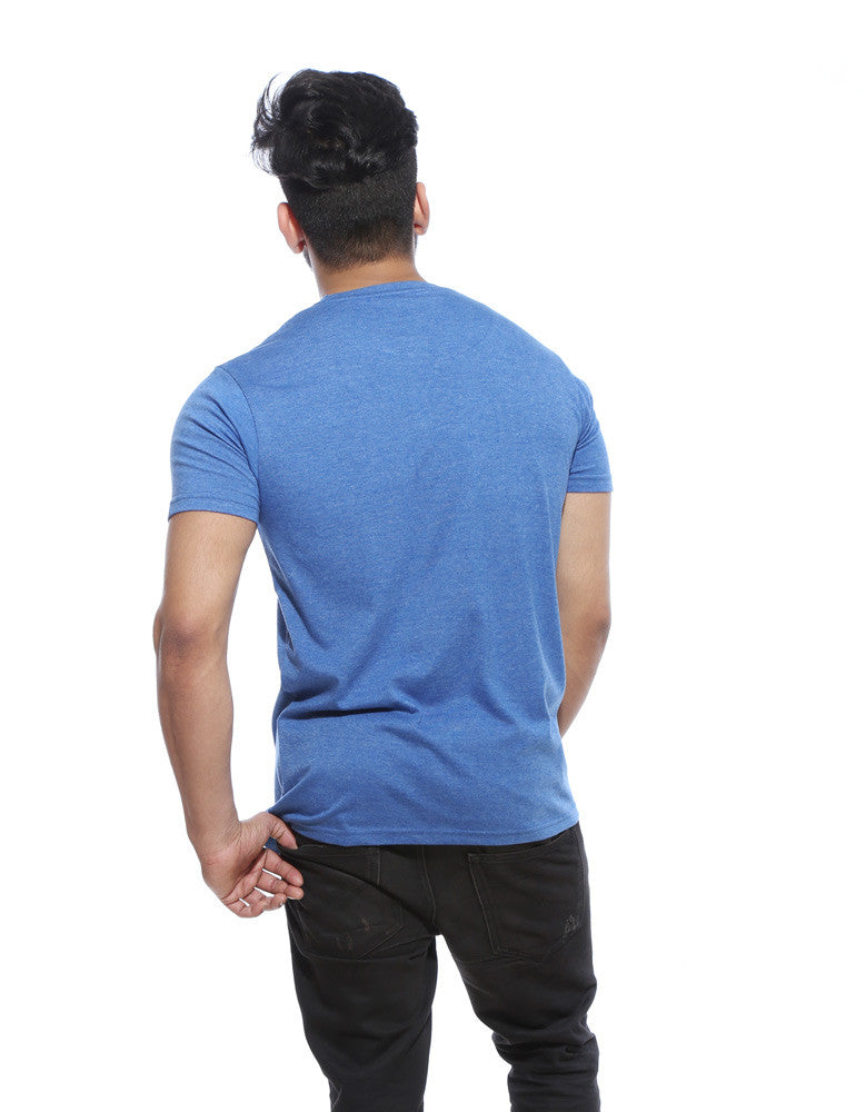 Marley - Blue Melange Men's Stoner Half Sleeve Designer T Shirt Model Back View