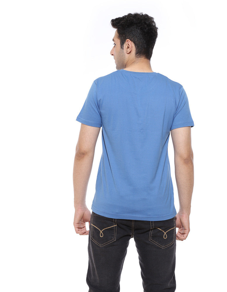 Beard - Dark Shadow Blue Men's Beard Half Sleeve Printed T Shirt Model Back View
