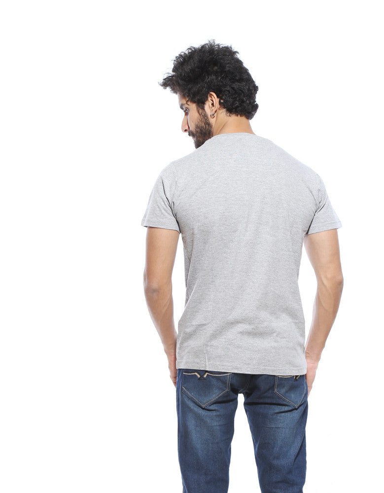 Dine Wine - Grey Men's Half Sleeve Graphic T Shirt Model Back View