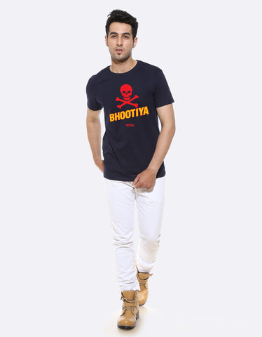 Bhootiya Lori Funzoa Navy Blue Graphic T shirt for men