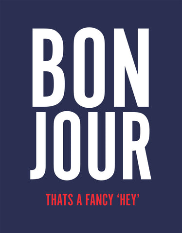 Bon Jour - Navy Blue Women's 3/4 Sleeve Graphic T Shirt Design View