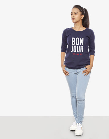 Bon Jour - Navy Blue Women's 3/4 Sleeve Graphic T Shirt Model Full Front View