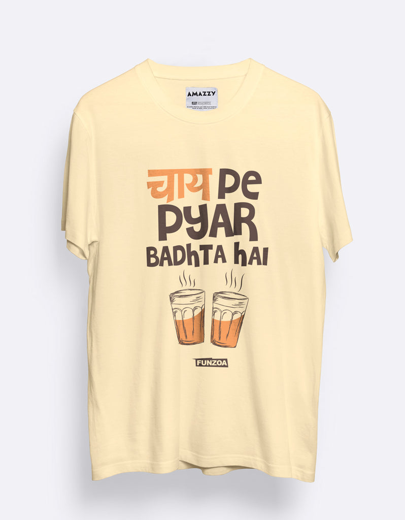 Chai Pe Pyar Men's Lemon Yellow Graphic T Shirt by AMAZZY