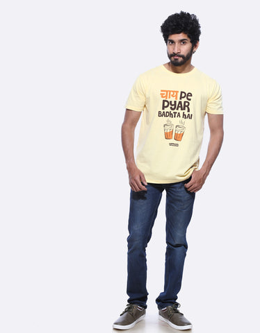 4fcd6dbb2e0 Chai Pe Pyar Men s Lemon Yellow Graphic T Shirt by AMAZZY