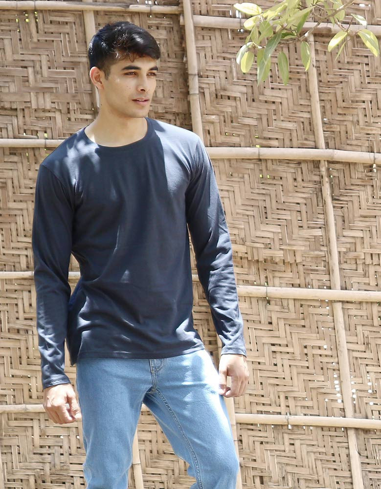 Charcoal Grey - Men's Plain Full Sleeve Casual T Shirt Model Front Half View