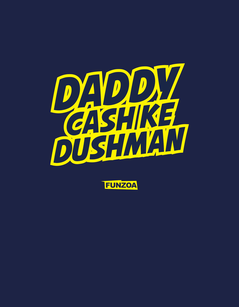 Daddy Cash Ke Dushman Funzoa Navy Blue Printed T shirt for men
