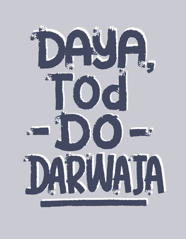 Darwaja - Grey Men's Half Sleeve CID Graphic T Shirt Design View