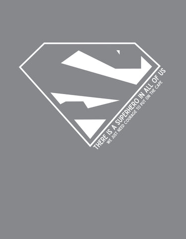 Superhero Men's Cement Grey T-Shirt (Design view)