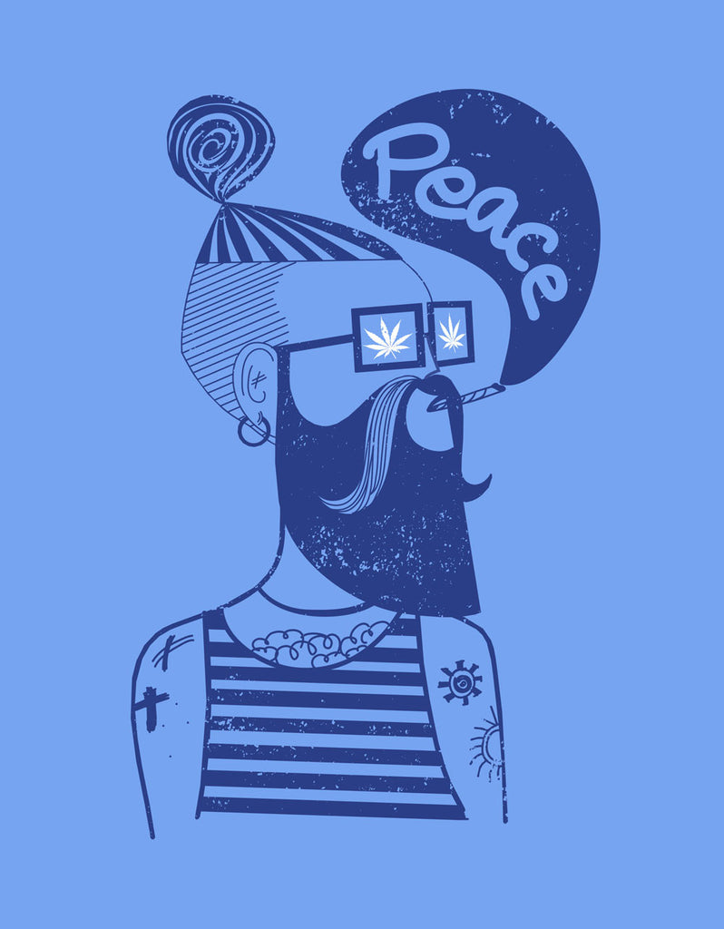 Stoner's Peace - Blue Melange Men's Stoner Half Sleeve Printed T Shirt Design View