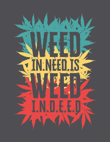 Weed Indeed - Charcoal Grey Men's Stoner Half Sleeve Printed T Shirt View