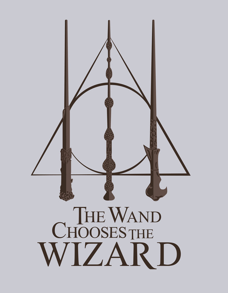 Wand Chooses Wizard -  Grey Men's Superhero Half Sleeve  Graphic T Shirt (Design view)