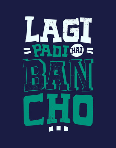Lagi Padi Hai - Navy Blue Men's Bancho Half Sleeve Funky T Shirt Fabric View Design View