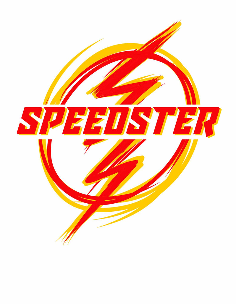 Speedster -  White Men's Superhero Half Sleeve Graphic T Shirt (Design view)
