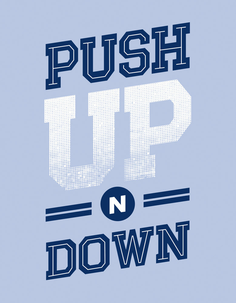Push Up N Down - Yale Blue Men's Gym Sleeveless Graphic Vest Design view
