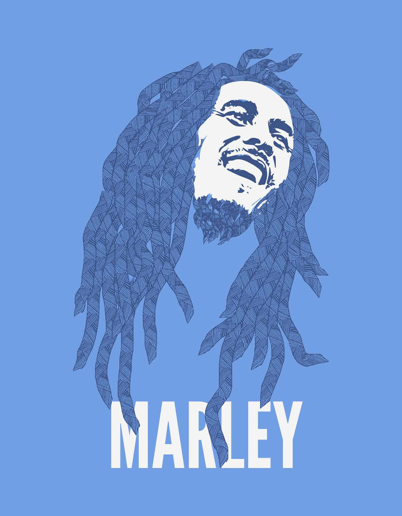 Marley - Blue Melange Men's Stoner Half Sleeve Designer T Shirt Design View
