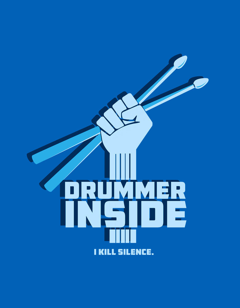 Drummer Inside - Royal Blue Men's Music Half Sleeve Graphic T Shirt Design View