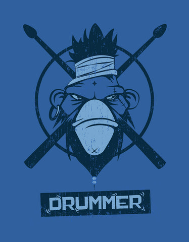 Drummer - Royal Blue Men's Music Half Sleeve Designer T Shirt Design View