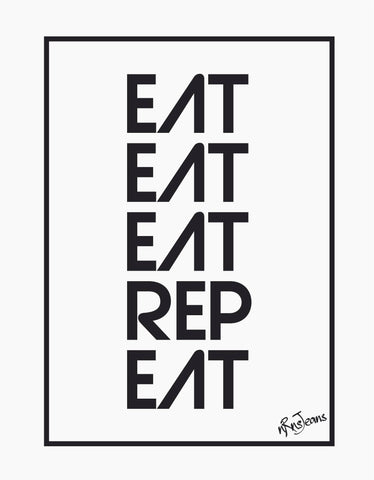 Eat Eat Rep Eat - White Women's Random Short Sleeve Printed T Shirt Design View