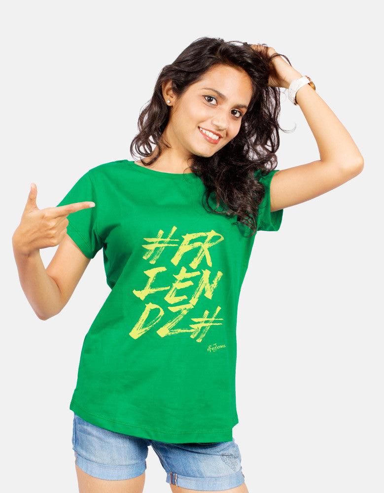 Friendz - Green Women's Random Short Sleeve Graphic T Shirt Model  Front View